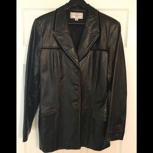St. John brown leather jacket, size L